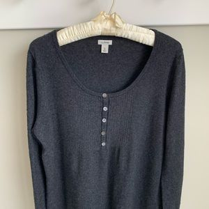 LL Bean wool/cashmere charcoal henley sweater